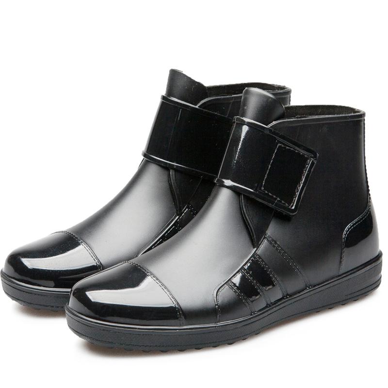 Pria Musim Semi atau Musim Panas Bernapas Ringan Sepatu Udara Sepatu Bot Hujan (Hitam)