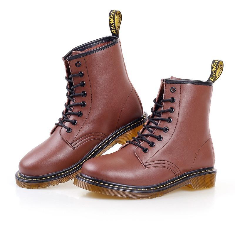 Ulasan Tentang Pria Tinggi Leather Martin Boots Baru Sepatu Kulit Lembut Oxford End Memakai Sepatu Bot Hitam Intl