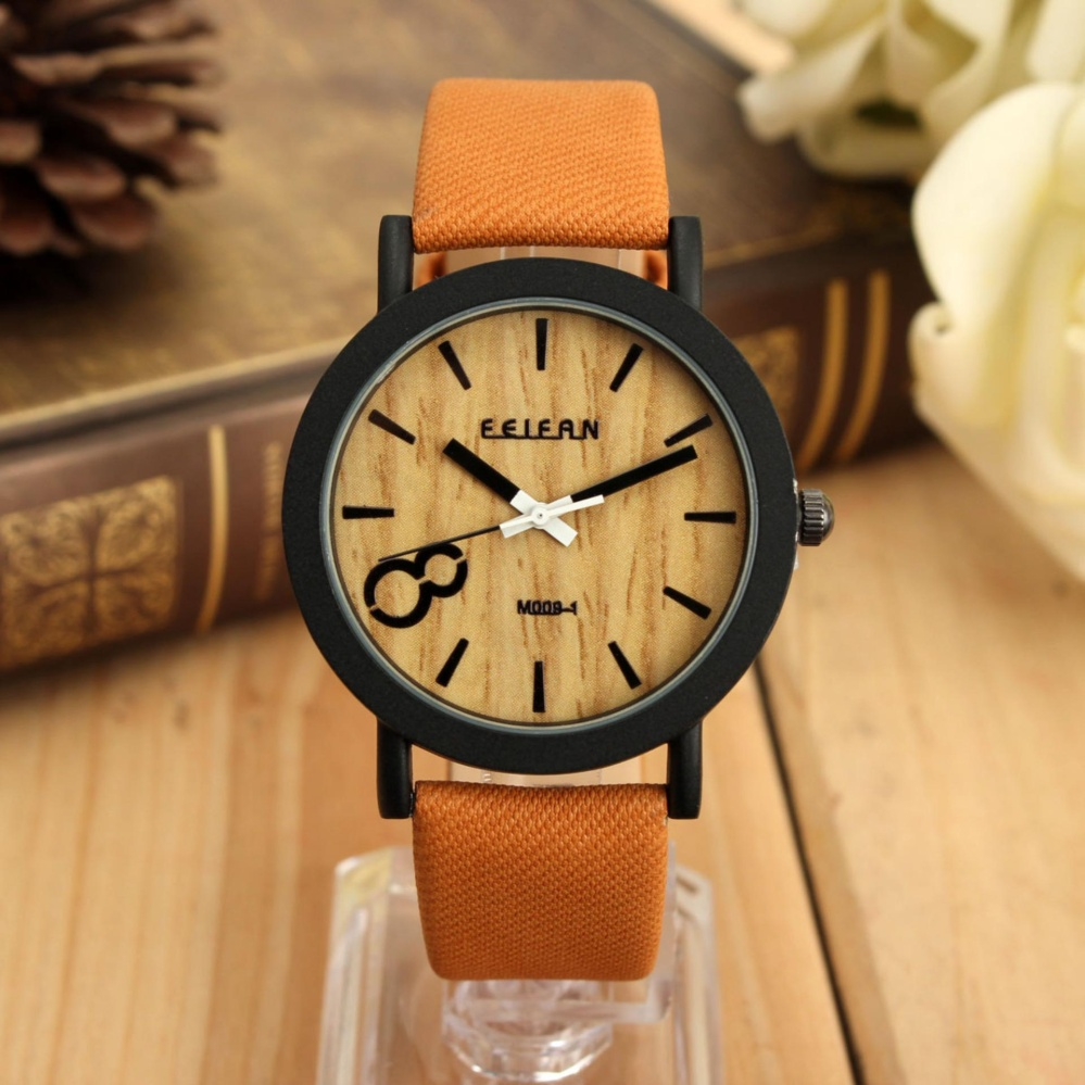 Pria Vintage Kayu Dial Quartz Casual Brown Leather Wrist Watch Diskon Tiongkok