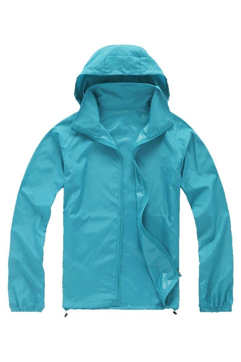 Harga Pria Wanita Jaket Waterproof Waterproof Sepeda Sepeda Kolam Olahraga Mantel Hujan Baru Light Blue L