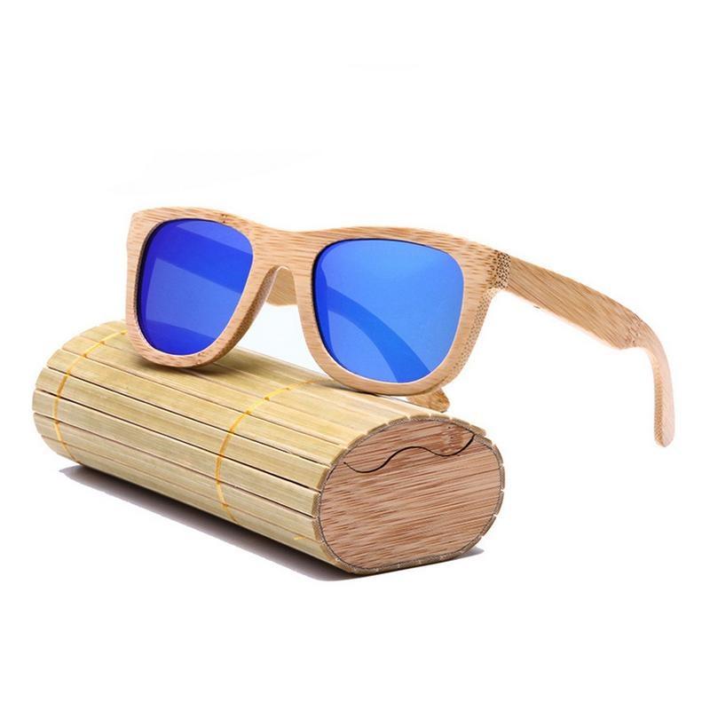 Review Pria Wanita Kayu Bingkai Kacamata Square Uv Perlindungan Sun Glasses With Kotak
