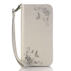 Print Butterfly Fly Flower PU Leather Flip Wallet Cell Phone Case And Soft TPU Cover For Samsung Galaxy A5 (Grey)