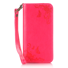 Print Butterfly Fly Flower PU Leather Flip Wallet Cell Phone Case And Soft TPU Cover For Samsung Galaxy J3 Pro (Red)(Intl)