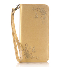 Print Butterfly Fly Flower PU Leather Flip Wallet Cell Phone Case And Soft TPU Cover For Samsung Galaxy S4 (Gold)