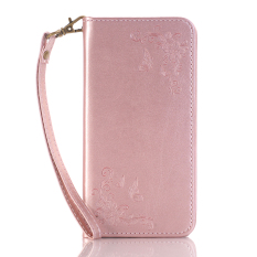 Print Butterfly Fly Flower PU Leather Flip Wallet Cell Phone Case And Soft TPU Cover For Samsung Galaxy S4 (Pink)