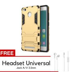 ProCase Kickstand Hybrid Armor Iron Man PC+TPU Back Cover Case for Xiaomi Redmi 3 Pro / 3s - Gold +