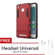 ProCase Kickstand Hybrid Armor Iron Man PC+TPU Back Cover Case for Xiaomi Redmi 3 Pro / 3s - Merah + Gratis Universal Headset