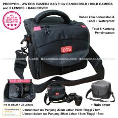 PROCYON L AW EOS CAMERA BAG for DSLR CAMERA and 2 LENSES + RAIN COVER Compatible with Canon DSLR Nikon Panasonic Sony Fujifilm Samsung Olympus
