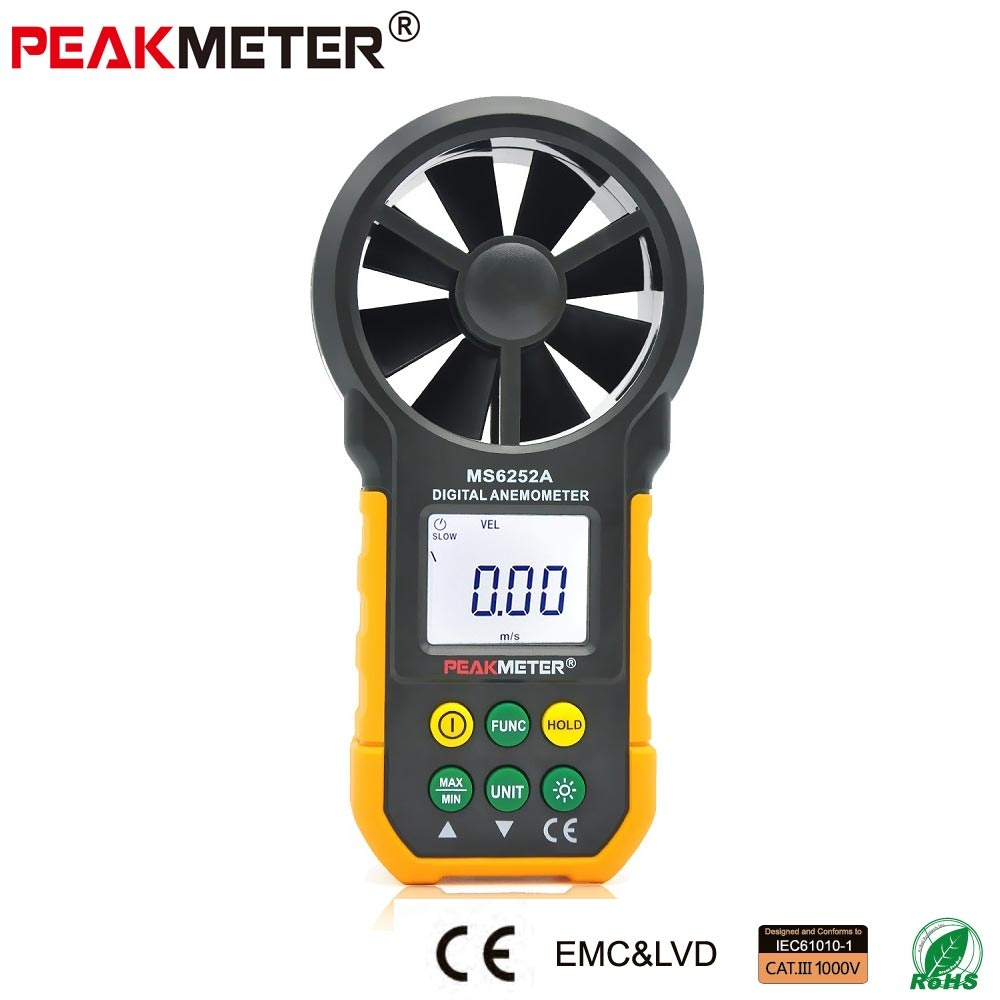 Professional High Quality Digital Anemometer Wind Speed Air Volume Measuring Meter MS6252A LCD Display - intl
