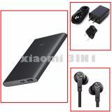 Toko Jual Promo 3In1 Powerbank Xiaomi 10000Mah Pro Fast Charger Xiaomi Travel Charger 2A Handsfree Xiaomi Piston 3 Original Flat Kabel Hitam