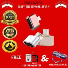 Promo Agustus Mini Micro Usb OTG Data Cable Adapter 2.0 Hub Converter For Android Smartphone Samsung Galaxy / Oppo / Xiaomi / LG / Sony / Huawei + Gratis Noosy  Simcard Adapter 3 IN 1 + Kabel Charger Micro Tali Warna