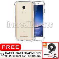 PROMO  Case Anti Shock / Anti Crack Elegant Softcase  for Xiaomi Redmi Note 3 Pro - White Clear + Free Kabel Data Xiaomi Ori Micro USB 2A Fast Charging