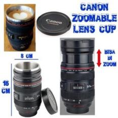 promo LENS MUG THERMOS STAINLESS GELAS kamera Canon Zoomable Lens Cup original