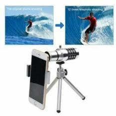 promo Lensa Telezoom 12x Mobile Phone Universal + Tripod dan Jepit original