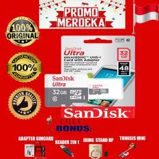 Jual Beli Online Promo Merdeka Sandisk Memory Card Ultra Micro Sdhc Class 10 48Mb S 32Gb Gratis Reader 2In1 Iring Stand Hp Sim Card Adapter Tongsis Mini