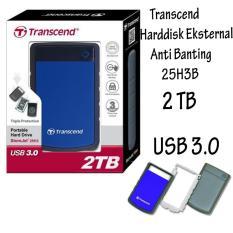 Promo Sale!! Transcend Storejet Harddisk Eksternal Antishock / Tahan Banting 25H3B 2TB - Biru