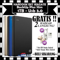 PROMO !! Seagate BackUp Plus Slim 1TB - HDD / HD / Hardisk External - GRATIS Usb OTG Reader Android & Kabel Charger Micro Android