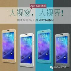 Promo Usams Touch Flip Cover View Clear Case Samsung Galaxy Note4/N9100 Diskon