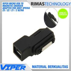 Rimas Micro Usb To Magnetic Charger Adapter For Sony Xperia Z3 / Z2 / Z1 / Z Ultra Adaptor Casan Charging Cas Mikro Magnet Z 3 Z 2 Z 1 - Black / Hitam