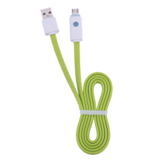 Promosi Micro USB CABLE Intelligent LED Light Charging Cable untuk Samsung S6 S5 S4 Catatan 5 Sync Data Cable Smart Colorful Noodle Jelly Line Hijau