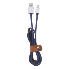 Promosi Super Kuat 1 M Kulit Logam Plug Micro USB Kabel untuk Samsung Galaxy S6 Lightning Cable untuk IPhone 6 6 S PLUS 5 S IPad Mini Biru Muda-Internasional