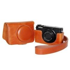 Pelindung Kulit PU Berkualitas Tinggi Tas Kamera Coverforfujifilm XQ1 XQ2 (Kamera Tidak Termasuk) Coklat-Internasional