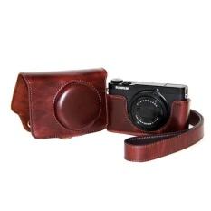 Pelindung Berkualitas Tinggi PU Leather Camera Case Bag CoverforFujifilm XQ1 XQ2 (Kamera Tidak Termasuk) Kopi-Intl