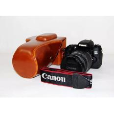 Pelindung PU Leather Bag Bag Cover dengan Tripod Mount untuk Canon EOS 760D/750D (Kamera Tidak Termasuk) Brown-Intl
