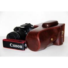 Pelindung PU Leather Bag Bag Cover dengan Tripod MountforCanon EOS-60D/70D (Kamera Tidak Termasuk) Kopi-Intl