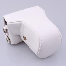 Sarung Pelindung Pu Sarung Kamera Kulit Penutup Tas dengan Bahu Strapfor Canon EOS-M/EOS-M2 (Kamera Tidak Termasuk) Putih-Intl