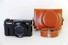PU Kulit Tas Kamera Kantong untuk Menutupi Kasus Canon PowerShot G7XII G7X II G7X Mark2 dengan Strap-Intl