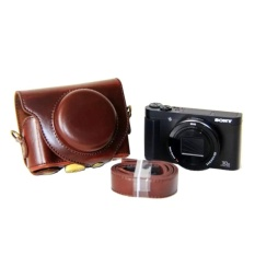 Promo Pu Leather Camera Bag Case Cover Pouch For Sony Dsc Hx90V Hx90Wx500 With Shoulder Strap Intl
