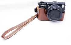 Kamera Kulit Pu Sarung Bawah Setengah Tubuh Set PENUTUP UNTUK Canon PowerShot G1X Mark II G1X M2 G1X2 G1X II (Kopi)