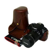 PU Leather Bag Bag Cover dengan Tripod Desain untuk Canon EOS 650D/600D/700D Kopi (Kamera Tidak Termasuk)
