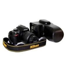 Kamera Kasus Penutup Pu Kulit Tas + Tripod Desain ForNikonD3200/D3100/D3300 (Hitam)-Internasional