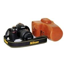 Kamera Kasus Penutup Pu Kulit Tas + Tripod Desain ForNikonD3200/D3100/D3300 (Coklat)-Internasional