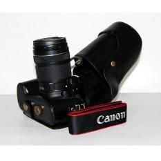 Kamera Kasus Penutup Pu Kulit Tas + Tripod DesignforCanonEOS-60D/70D Hitam (Kamera Tidak Termasuk)-Internasional