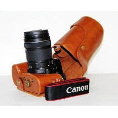 Kamera Kasus Penutup Pu Kulit Tas + Tripod DesignforCanonEOS-60D/70D Cokelat (Kamera Tidak Included) (Hitam) (Luar Negeri)-Internasional