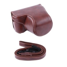 PU Leather Camera Case Bag Pouch Bag untuk Sony A5000/A5100/NEX3N dan 16-50mm Kamera Lens (kopi) -Intl