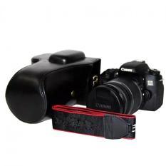 Kamera Kulit PU For Canon 600D/650D/700D/760D 18-55mm 18-135mm 18-200mm Lensa (hitam) -Internasional