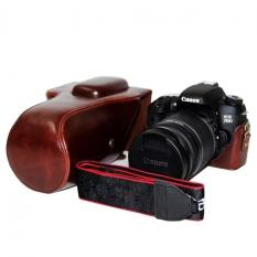 PU Leather Camera Case untuk Canon 600D/650D/700D/760D 18-55mm 18-135mm 18-200mm Lensa (Kopi) -Intl