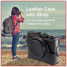 Pu Leather Case Cover Bag Untuk Kamera Digital Sony Rx100 Dengan Strap Hitam Intl Murah