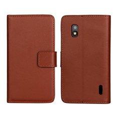PU Leather Case Flip Stand dengan Slot Kartu Wallet Cover untuk LG Google Nexus 4 E960 (Brown) -Intl