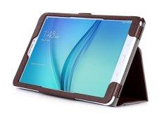 PU Leather Case Stand Cover untuk Samsung Galaxy Tab E 9.6 Inch WIFI T560/3g T561 Tablet dengan Velcro Tali Pengikat dan Slot Kartu Case (Brown) -Intl
