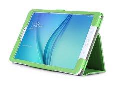 PU Leather Case Stand Cover untuk Samsung Galaxy Tab E 9.6 Inch WIFI T560/3g T561 Tablet dengan Velcro Tali Pengikat dan Slot Kartu Case (Hijau) -Intl