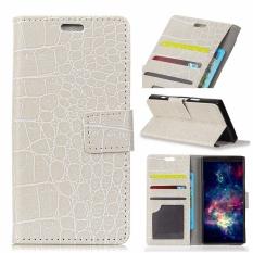 PU Kulit Buaya Pola Dompet Case Cover untuk Alcatel One Touch Idol 5 S 5.2 (Putih)-Intl