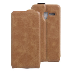 PU Leather Flip Cover Case untuk Alcatel One Touch POP 3 (5) 5.0 Inch/Pixi 3 5.0 Inch (Brown)