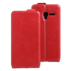 PU Leather Flip Cover Case untuk Alcatel One Touch POP 3 (5) 5.0 Inch/Pixi 3 5.0 Inch (Merah)