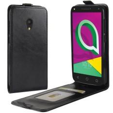 PU Kulit Lipat Sarung Case untuk Alcatel U5 3G Versi (Hitam)-Internasional