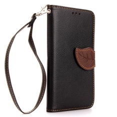 PU Leather Flip Protective Case Cover dengan Tali untuk Samsung Galaxy Note II 2 N7100 (Hitam)